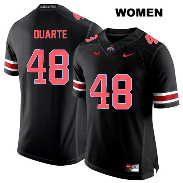 Red Font Tate Duarte Womens Stitched Black Nike Ohio State Buckeyes Authentic no. 48 College Football Jersey - Tate Duarte Jersey