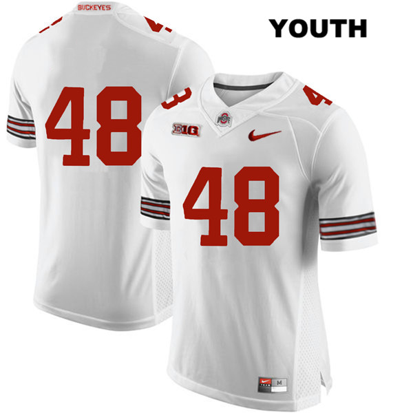 Stitched Tate Duarte Youth White Ohio State Buckeyes Authentic Nike no. 48 College Football Jersey - Without Name - Tate Duarte Jersey