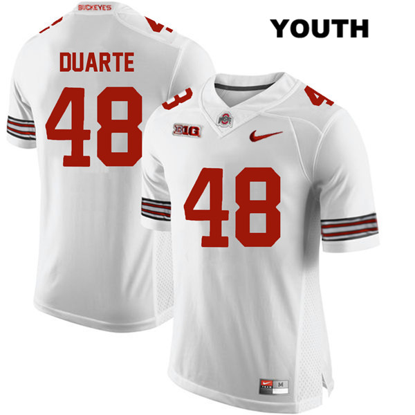 Tate Duarte Stitched Nike Youth White Ohio State Buckeyes Authentic no. 48 College Football Jersey - Tate Duarte Jersey