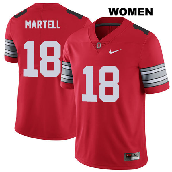 Tate Martell Stitched Womens Red Nike Ohio State Buckeyes Authentic 2018 Spring Game no. 18 College Football Jersey - Tate Martell Jersey