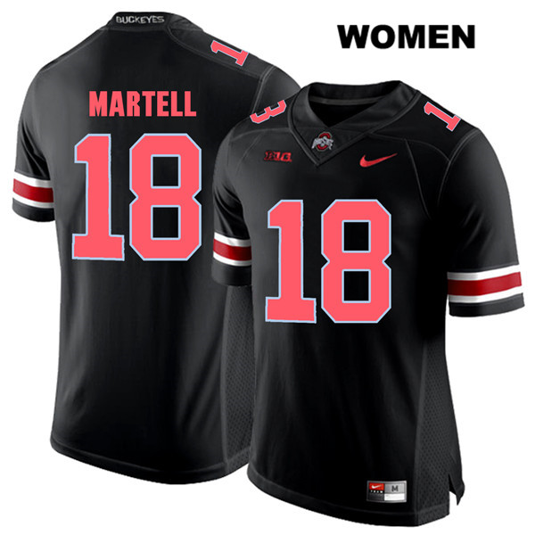 Tate Martell Stitched Womens Black Nike Red Font Ohio State Buckeyes Authentic no. 18 College Football Jersey - Tate Martell Jersey