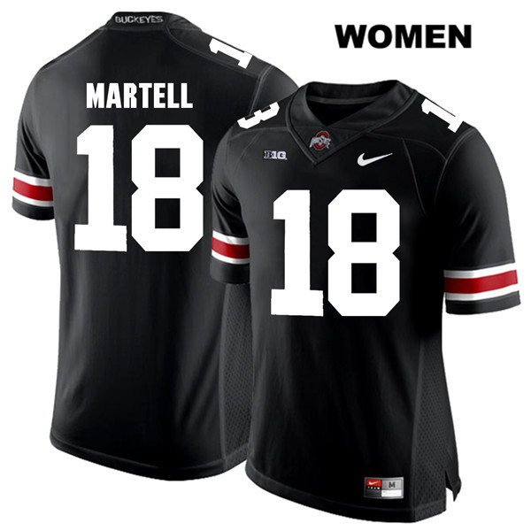 Tate Martell Womens Stitched Black Nike Ohio State Buckeyes Authentic White Font no. 18 College Football Jersey - Tate Martell Jersey