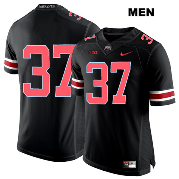 Trayvon Wilburn Mens Black Ohio State Buckeyes Stitched Authentic Red Font Nike no. 37 College Football Jersey - Without Name - Trayvon Wilburn Jersey