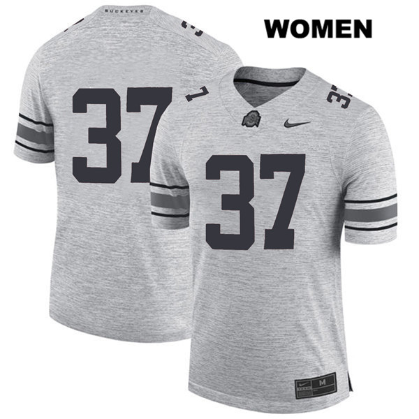 Trayvon Wilburn Stitched Womens Gray Nike Ohio State Buckeyes Authentic no. 37 College Football Jersey - Without Name - Trayvon Wilburn Jersey