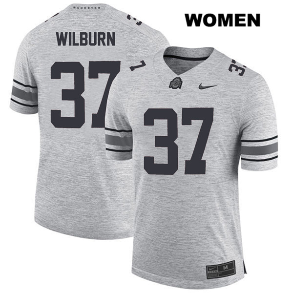 Nike Trayvon Wilburn Womens Gray Ohio State Buckeyes Authentic Stitched no. 37 College Football Jersey - Trayvon Wilburn Jersey
