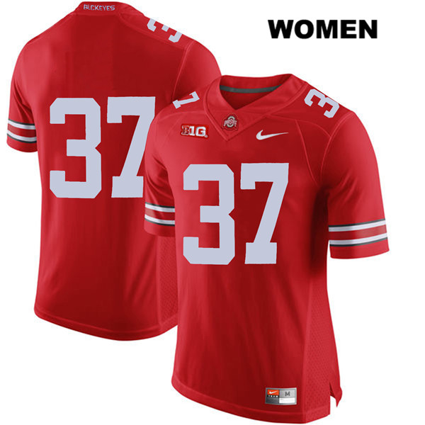 Nike Trayvon Wilburn Womens Red Stitched Ohio State Buckeyes Authentic no. 37 College Football Jersey - Without Name - Trayvon Wilburn Jersey