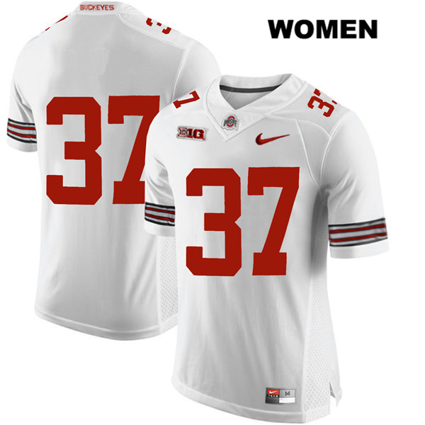 Trayvon Wilburn Womens Nike White Ohio State Buckeyes Authentic Stitched no. 37 College Football Jersey - Without Name - Trayvon Wilburn Jersey