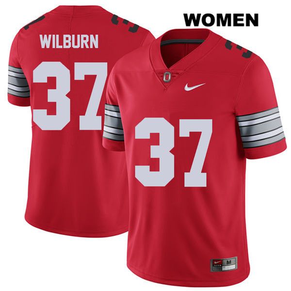 Trayvon Wilburn Nike Womens 2018 Spring Game Red Ohio State Buckeyes Stitched Authentic no. 37 College Football Jersey - Trayvon Wilburn Jersey