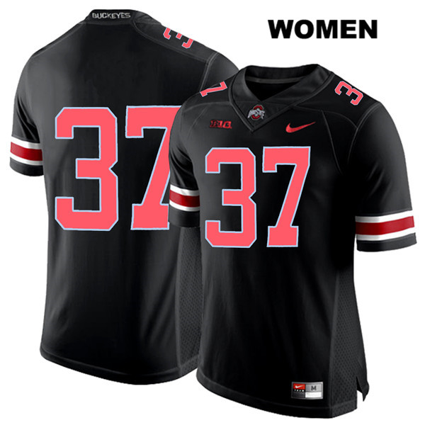 Nike Trayvon Wilburn Womens Stitched Red Font Black Ohio State Buckeyes Authentic no. 37 College Football Jersey - Without Name - Trayvon Wilburn Jersey