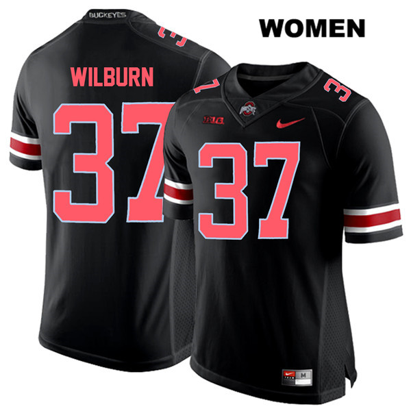 Trayvon Wilburn Stitched Nike Womens Black Ohio State Buckeyes Authentic Red Font no. 37 College Football Jersey - Trayvon Wilburn Jersey