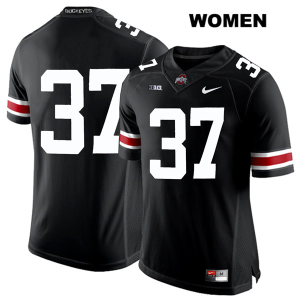 Trayvon Wilburn Stitched Womens Black Nike Ohio State Buckeyes White Font Authentic no. 37 College Football Jersey - Without Name - Trayvon Wilburn Jersey