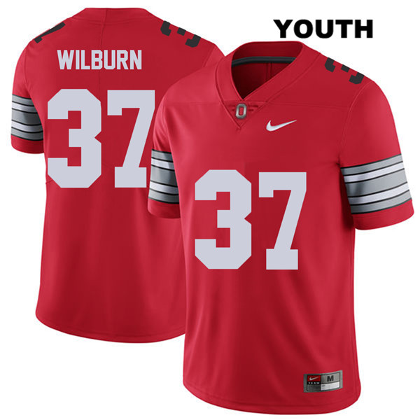 Trayvon Wilburn Nike Stitched Youth Red 2018 Spring Game Ohio State Buckeyes Authentic no. 37 College Football Jersey - Trayvon Wilburn Jersey
