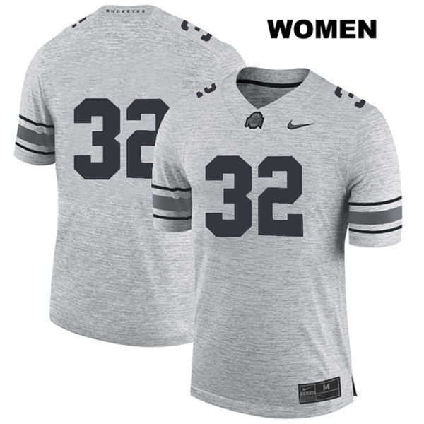 Nike Tuf Borland Womens Gray Ohio State Buckeyes Stitched Authentic no. 32 College Football Jersey - Without Name - Tuf Borland Jersey