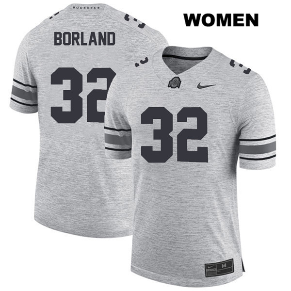 Stitched Tuf Borland Womens Nike Gray Ohio State Buckeyes Authentic no. 32 College Football Jersey - Tuf Borland Jersey