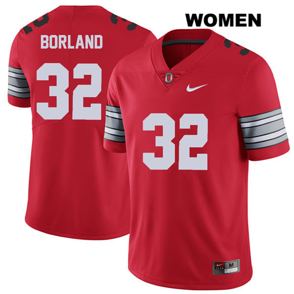 Tuf Borland Nike Womens Red 2018 Spring Game Ohio State Buckeyes Stitched Authentic no. 32 College Football Jersey - Tuf Borland Jersey