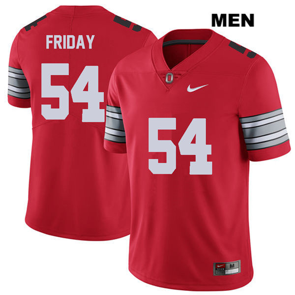 Tyler Friday Mens Red Nike Ohio State Buckeyes Authentic 2018 Spring Game Stitched no. 54 College Football Jersey - Tyler Friday Jersey