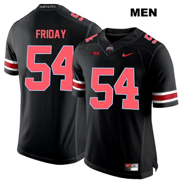 Tyler Friday Nike Mens Black Red Font Ohio State Buckeyes Authentic Stitched no. 54 College Football Jersey - Tyler Friday Jersey