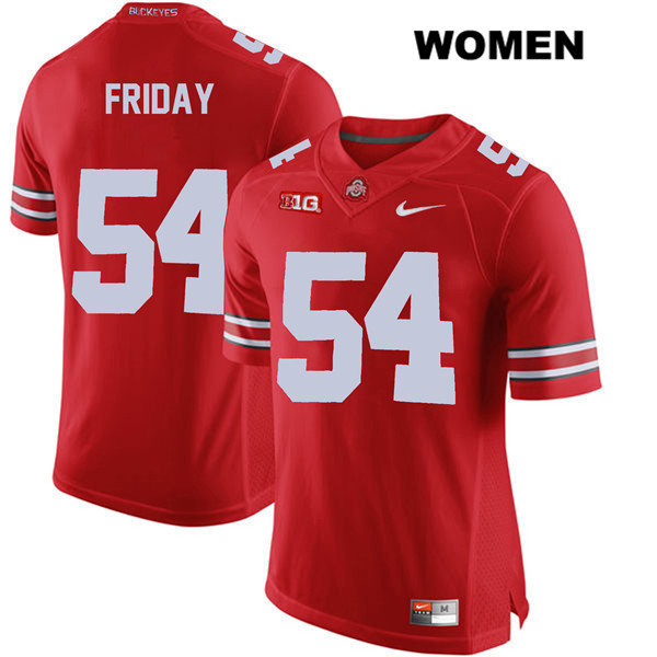 Stitched Tyler Friday Womens Nike Red Ohio State Buckeyes Authentic no. 54 College Football Jersey - Tyler Friday Jersey