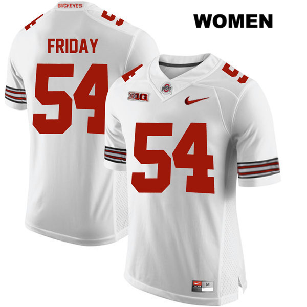 Tyler Friday Nike Womens White Ohio State Buckeyes Authentic Stitched no. 54 College Football Jersey - Tyler Friday Jersey