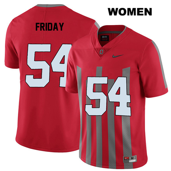 Tyler Friday Nike Womens Elite Red Ohio State Buckeyes Stitched Authentic no. 54 College Football Jersey - Tyler Friday Jersey
