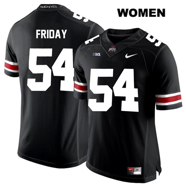 Stitched Tyler Friday White Font Womens Black Ohio State Buckeyes Nike Authentic no. 54 College Football Jersey - Tyler Friday Jersey