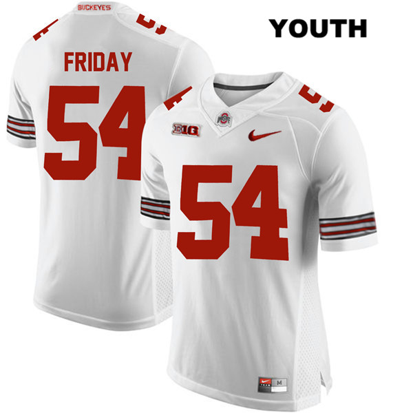 Tyler Friday Stitched Nike Youth White Ohio State Buckeyes Authentic no. 54 College Football Jersey - Tyler Friday Jersey