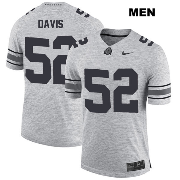 Stitched Wyatt Davis Mens Gray Ohio State Buckeyes Nike Authentic no. 52 College Football Jersey - Wyatt Davis Jersey