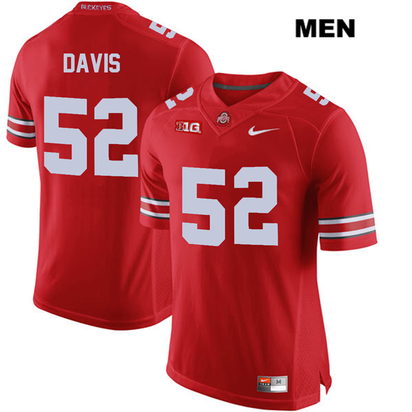 Wyatt Davis Mens Stitched Red Ohio State Buckeyes Nike Authentic no. 52 College Football Jersey - Wyatt Davis Jersey