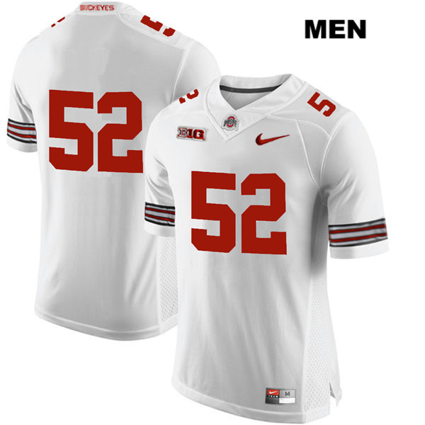 Stitched Wyatt Davis Mens White Nike Ohio State Buckeyes Authentic no. 52 College Football Jersey - Without Name - Wyatt Davis Jersey