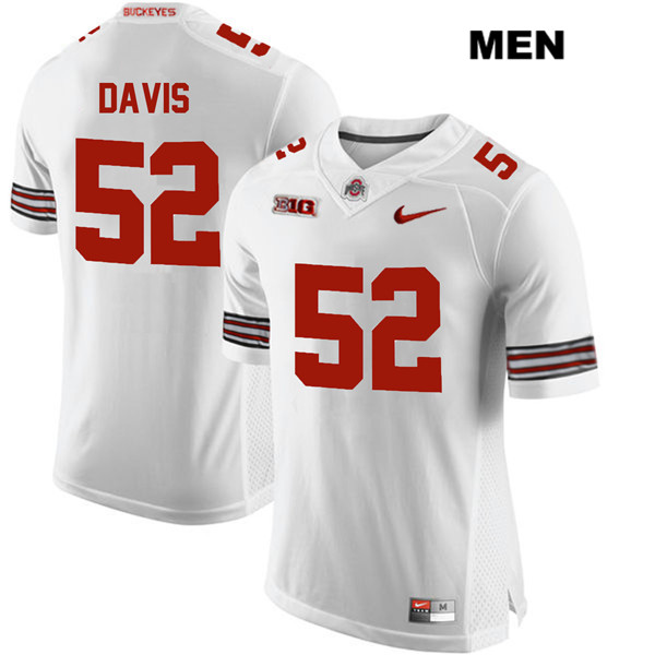 Wyatt Davis Mens White Ohio State Buckeyes Nike Authentic Stitched no. 52 College Football Jersey - Wyatt Davis Jersey