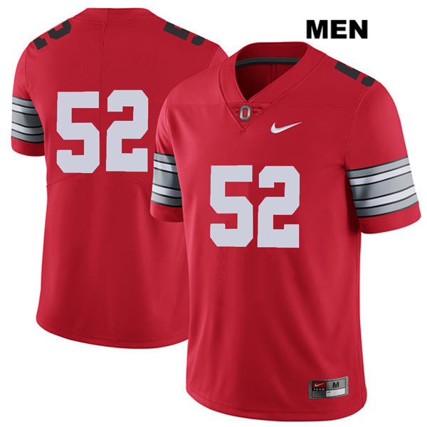 Wyatt Davis 2018 Spring Game Mens Nike Red Ohio State Buckeyes Authentic Stitched no. 52 College Football Jersey - Without Name - Wyatt Davis Jersey