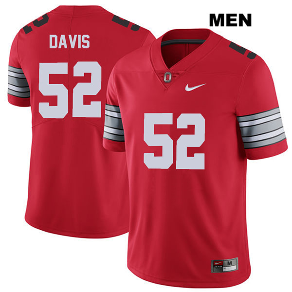 Wyatt Davis Mens Stitched Red Ohio State Buckeyes 2018 Spring Game Authentic Nike no. 52 College Football Jersey - Wyatt Davis Jersey