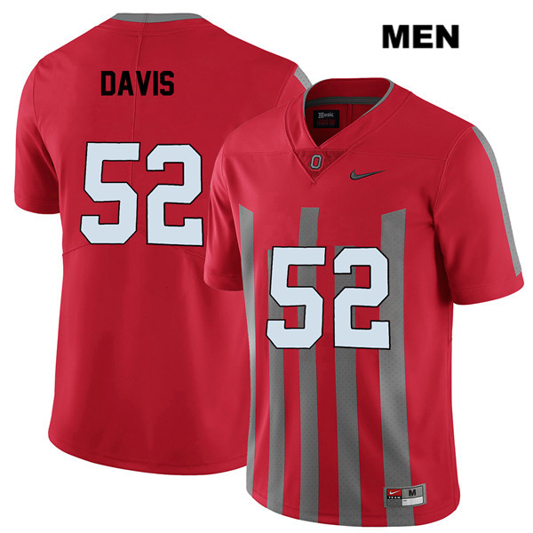 Wyatt Davis Mens Nike Red Elite Ohio State Buckeyes Stitched Authentic no. 52 College Football Jersey - Wyatt Davis Jersey