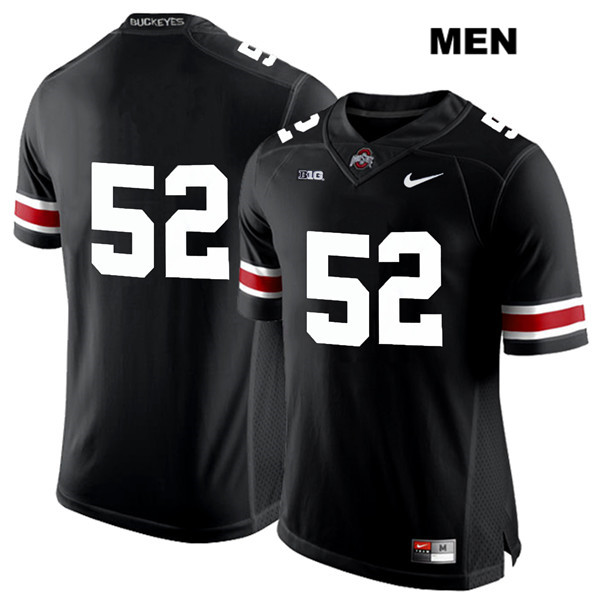 White Font Wyatt Davis Nike Mens Stitched Black Ohio State Buckeyes Authentic no. 52 College Football Jersey - Without Name - Wyatt Davis Jersey