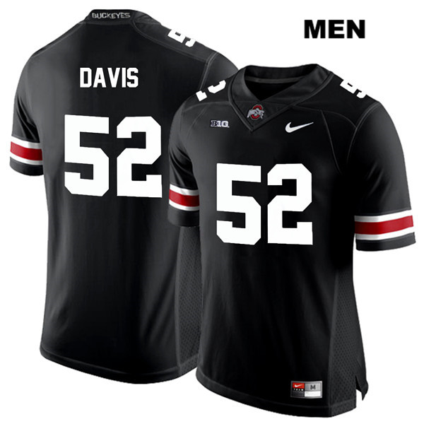 Wyatt Davis Stitched Mens White Font Black Ohio State Buckeyes Authentic Nike no. 52 College Football Jersey - Wyatt Davis Jersey