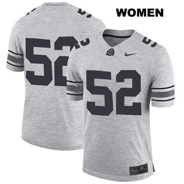 Wyatt Davis Stitched Nike Womens Gray Ohio State Buckeyes Authentic no. 52 College Football Jersey - Without Name - Wyatt Davis Jersey