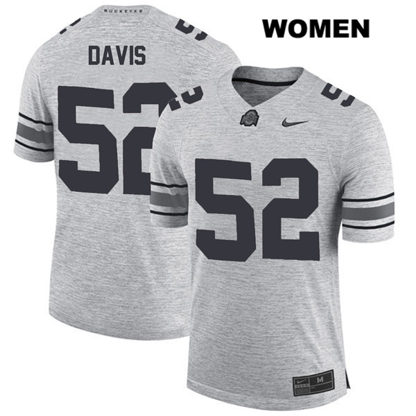 Wyatt Davis Nike Womens Gray Ohio State Buckeyes Authentic Stitched no. 52 College Football Jersey - Wyatt Davis Jersey