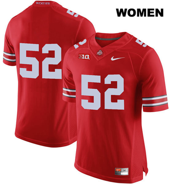 Wyatt Davis Nike Womens Red Stitched Ohio State Buckeyes Authentic no. 52 College Football Jersey - Without Name - Wyatt Davis Jersey