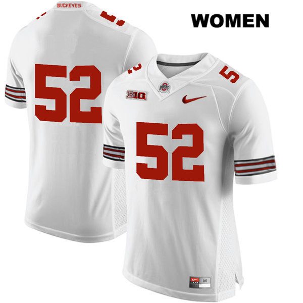 Wyatt Davis Womens Nike White Ohio State Buckeyes Stitched Authentic no. 52 College Football Jersey - Without Name - Wyatt Davis Jersey