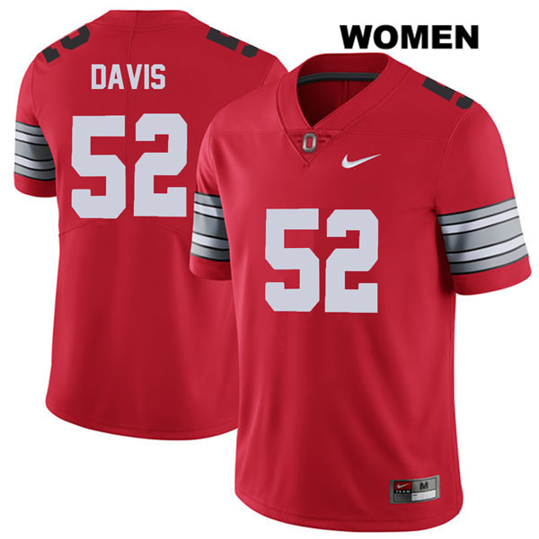 Wyatt Davis Nike 2018 Spring Game Womens Stitched Red Ohio State Buckeyes Authentic no. 52 College Football Jersey - Wyatt Davis Jersey