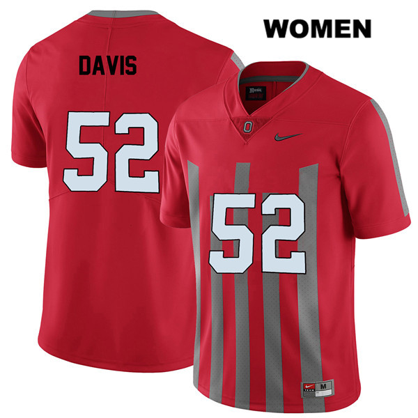 Wyatt Davis Nike Womens Stitched Red Ohio State Buckeyes Authentic Elite no. 52 College Football Jersey - Wyatt Davis Jersey