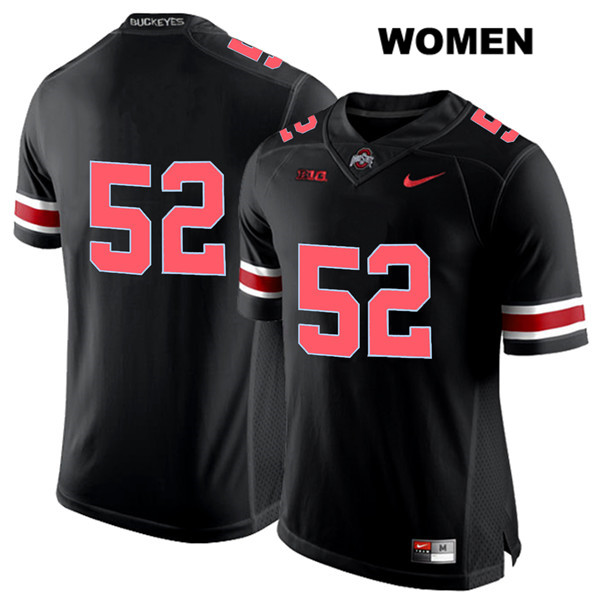 Nike Wyatt Davis Red Font Womens Stitched Black Ohio State Buckeyes Authentic no. 52 College Football Jersey - Without Name - Wyatt Davis Jersey