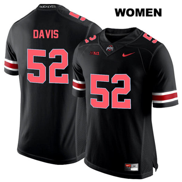 Wyatt Davis Womens Black Red Font Ohio State Buckeyes Authentic Stitched Nike no. 52 College Football Jersey - Wyatt Davis Jersey