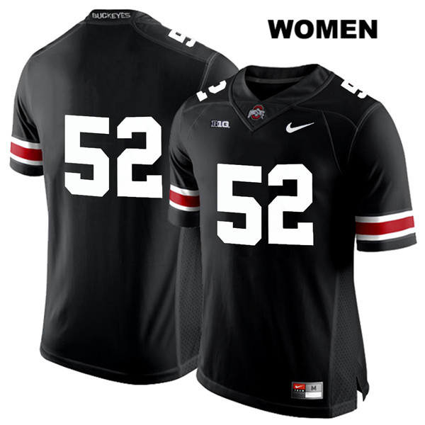 Wyatt Davis Womens Black Ohio State Buckeyes Nike Authentic Stitched White Font no. 52 College Football Jersey - Without Name - Wyatt Davis Jersey