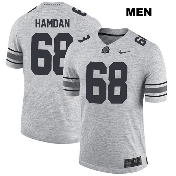 Zaid Hamdan Mens Gray Ohio State Buckeyes Nike Authentic Stitched no. 68 College Football Jersey