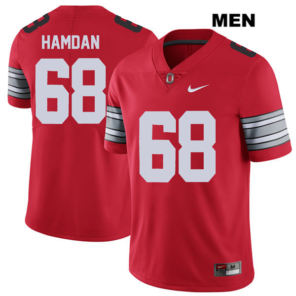 Zaid Hamdan Stitched Mens Red 2018 Spring Game Ohio State Buckeyes Authentic Nike no. 68 College Football Jersey - Zaid Hamdan Jersey