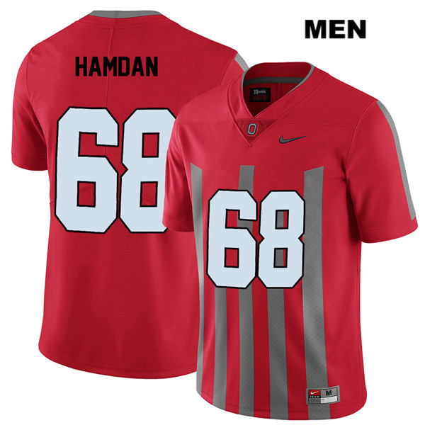 Zaid Hamdan Stitched Mens Nike Red Elite Ohio State Buckeyes Authentic no. 68 College Football Jersey - Zaid Hamdan Jersey