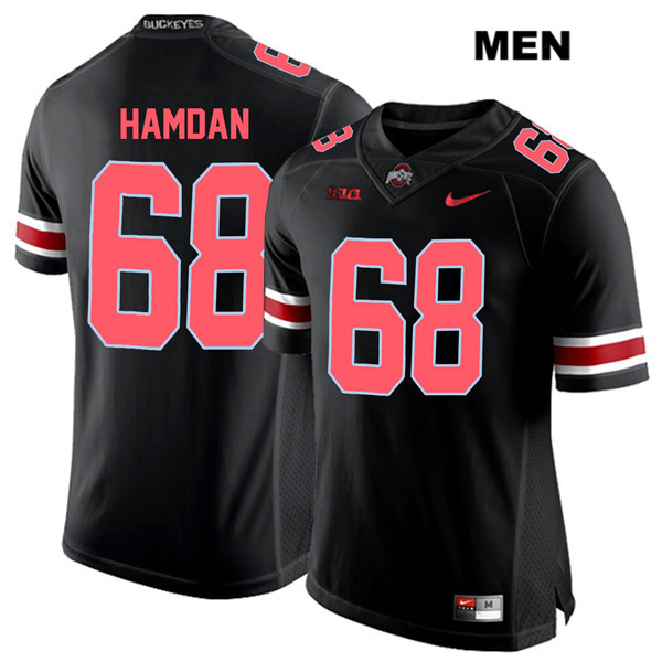 Zaid Hamdan Mens Red Font Black Ohio State Buckeyes Nike Authentic Stitched no. 68 College Football Jersey - Zaid Hamdan Jersey