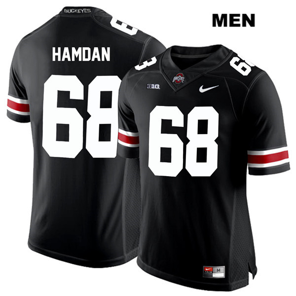 Stitched Zaid Hamdan Mens Black Ohio State Buckeyes Nike Authentic White Font no. 68 College Football Jersey - Zaid Hamdan Jersey