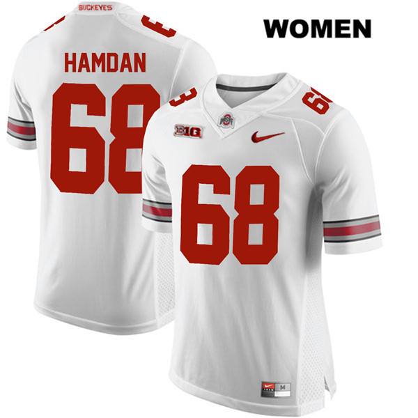 Nike Zaid Hamdan Womens White Ohio State Buckeyes Authentic Stitched no. 68 College Football Jersey - Zaid Hamdan Jersey